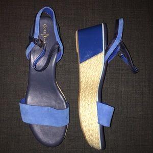 Cole Haan Arden Bright Blue Wedge Sandals - 11